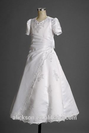 Branca de manga curta A linha Lace comunhão vestido 2014
