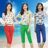 Autumn garment new fashion cultivated printing chiffon shirts halon pant suits woman apparel 2014