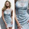 Chic Scoop Neckline Sky Blue Beading Elegant 2014 Cocktail Dresses