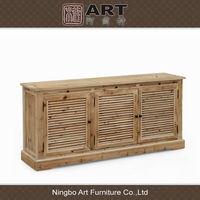 Antique european wooden natural color furniture side board