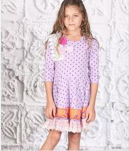 kids girls Purple Polka Dot Lace Princess Dress - Toddler