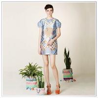 Customized 2014 Top Quality New Design Digital Printing 100% Silk Satin Dresses