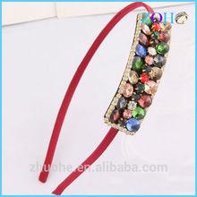 Colorful zircon & glass hair band forehead band grosgrain ribbon hair band