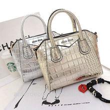 mini tote bag shining silver shoulder bag