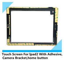 free shipping tnt Wholesale touch screen digitizer for ipad 2 Assembly with home button with 3M sticky with frame