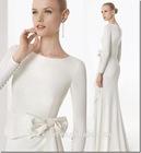 NobleJewel Long Sleeves Bowsknot Sweep Train Sheath Elegant Muslim Wedding Dress