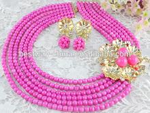 Fashion pink coral beads jewelry set BJ0012
