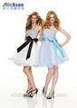 strapless bola vestido de organza lantejoulas grande laço vestido de coquetel para adolescentes