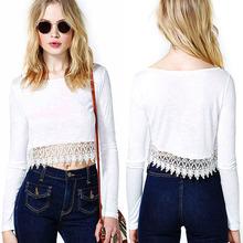 2014 Lace Corset Bare Midriff T-shirt long sleeve plain White Crop Top women SV005868