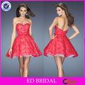nc401 de proa único hoja nueva moda de encaje rojo hinchada corto vestido de fiesta