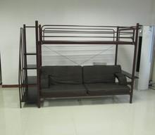 Twin Over Futon sofa Metal Bunk Bed, Brownish Red