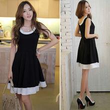 Fashion Women's Sleeveless Chiffon Summer Sundress Skater Swing Mini Dress Black plus size SV001501