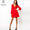 Fashion style China sexy V-neckline crinkle chiffon dress ball gown dress china supplier OEM