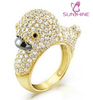 Bling Jewelry Gold Vermeil Pave Clear CZ Duck Cocktail Ring