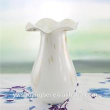 unique white art glass vase