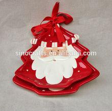 christmas decorative ceramic tree shape plate