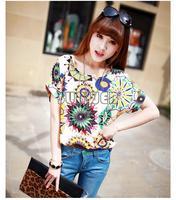 Cheap china wholesale clothing Korea style printed chiffon blouse Sunflower Print Batwing sexy girls printed t-shirt SV001434