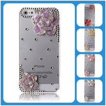 Deluxe Flower Design Clear Luxury Handmade 3D Bling Rhinestone Hard Case Cover Skin For iphone 5 5S