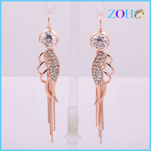 2014 Crystal Flower Women's Drop Stainless Steel Earring With Rose Gold Plated