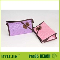 Dreamy house Travel Heart Print Zip up Nylon Case Women Make up Cosmetic Handy Bag Pink/promotional cosmetic bag