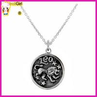 Sterling Silver Zodiac Sign Leo Pendant Necklace 16inches Black oxidized Leo Zodiac Pendant