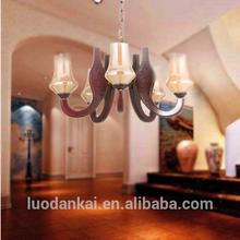 Big wooden hotel on chandelier in dubai