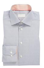 Cutaway-Collar Dress Shirt, Gray, Small Grids, Made to Measure Men's Shirt