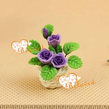 1/12 en miniatura jardín de hadas de arreglos flores en la canasta de arcilla en miniatura de la planta