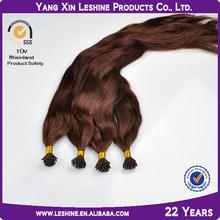 Wholesale 100% human fusion brown i-tip wavy keratin hair extension bonds