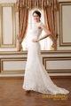 élégant col haut transparent de mariée en dentelle robe de mariée à manches courtes 2015 longue queueivoire, robes de mariée en dentelle vintage