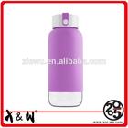 Food grade plastic travel mug with lid and silicone