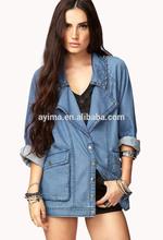 hot selling custom denim jackets wholesale long sleeve beaded plain women denim jacket wholesale denim jackets