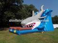 Yeni tasarım komik şişme köpekbalığı su kaydırağı/köpekbalığı şişme su kaydıraklı havuz çocuklar için
