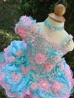 2014 Cute Little Girls Cupcake Glitz Pageant Dresses Flower Beaded Short Organza Formal Little Girl Pageant Dresses Girls