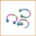 colorido de acero inoxidable bola herraduras anillos en la nariz aros