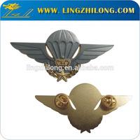 Cheap custom made two tone finished eagle skull logo metal badges