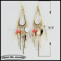 2014 hot seeling plating jewelry zinc alloy shell charms drop earrings