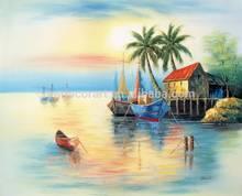 High grade colourful artwork venice scene boat sailing Landscapes Scenery Seascape oil painting