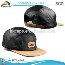 High Quality 100% Cotton Wholesale Flat Brim Leather 5 Panel Hats&Caps