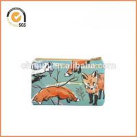 Spring Fox Zippered Pouch / Zipper Bag with Spring Woodland Animals / Cute Camera Bag By Chiqun Dongguan CQ-H03008