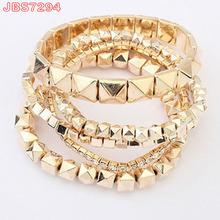 hot selling fashion rivet polygon acrylic beads elastic bracelet
