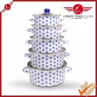 Hi-Q and slap-up 5pcs enamel pot set cookware with The tiny flower decals