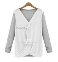 New Style Stitching Knitted Chiffon Fashion Shirt Women's 2014 Long Sleeve V-neck Blouse JH-BL-095