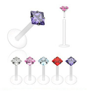 4 Prong Various Colors Packed Square Zircon Transparent UV Acrylic Labret & Lip piercing