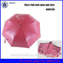 Cute pink 3 fold rain& sun umbrellas