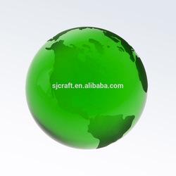 80mm green color crystal green globe ball green crystal world map globe