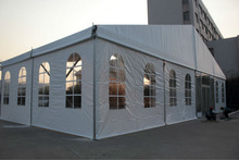 Good quality outdoor tent with white pvc roof and side walls