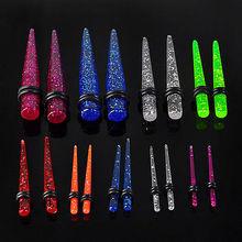 Glitter Ear Tunnels Set Plugs Kit Tapers Stretchers Guages 1.6mm-10mm ear taper set