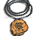 yeni varış iyi satış kişiselleştirilmiş tasarım hip hop iyi ahşap boncuk aslan başlı kolye kolye