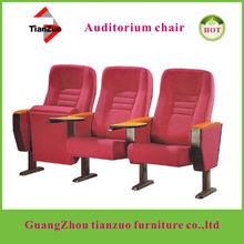 hardwood comfortable auditorium seating with pad writing